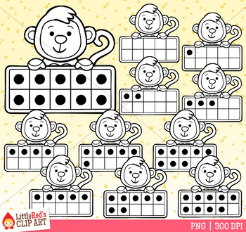 Monkey Ten Frames Clip Art