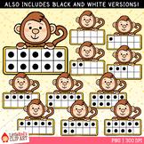 Monkey Ten Frames Clip Art