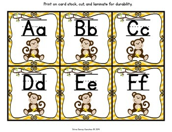Monkey Theme Alphabet and Word Wall Letter Cards