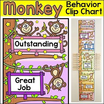 Behavior Chart - Monkey Theme Behavior Clip Chart Classroom Decor