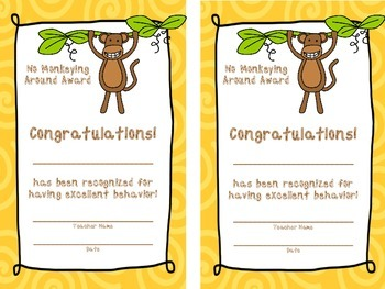 Monkey Theme Behavior Punch Card