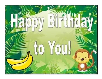 Monkey Theme Birthday Posters