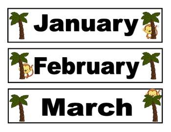 Monkey Theme Calendar