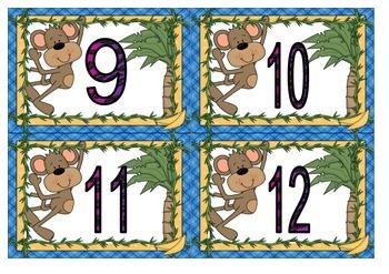 Monkey Theme Calender Numbers
