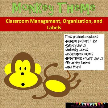 Monkey Theme Classroom Labels