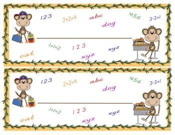 Monkey Theme Classroom Organziation Tools