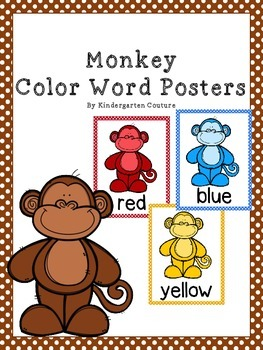 Monkey Theme Color Word Posters (Jungle)