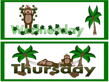 Monkey Theme Days Of The Week -Free