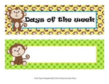 Monkey Theme Days of the Week Calendar Headers