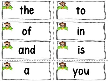 Monkey (Jungle) Word Wall Letters And 200 Fry Words -Editable