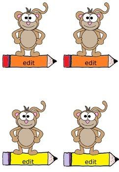 Labels - Name Tags, Desk Tags: Monkey Theme