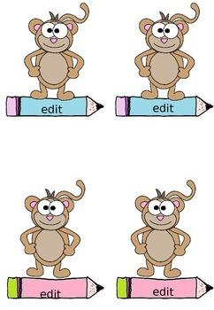 Labels - Name Tags, Desk Tags: Monkey Theme