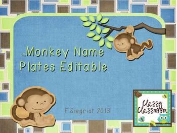 Monkey Theme Name Plates~Editable