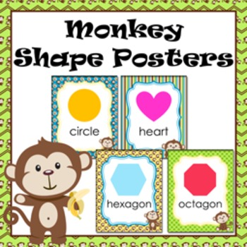 Monkey Theme Shape Posters