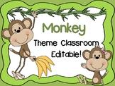 Monkey Theme Classroom {Editable}