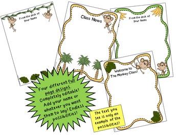 Monkey Theme Stationery {Editable}
