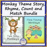 Monkey Theme Story, Rhyme, Count and Match Bundle