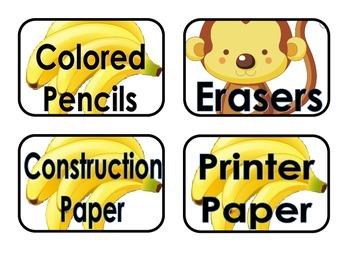 Monkey Theme Supply Labels