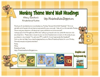 Monkey Theme Word Wall Cards