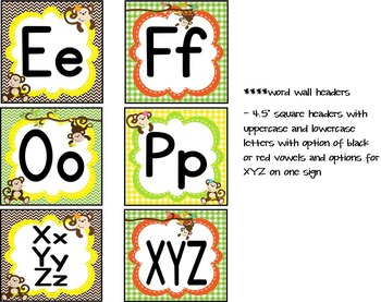Monkey Theme Word Wall Headers and Letter Pennants