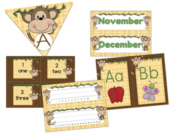 Monkey Theme or Jungle Theme Classroom Decorations Super Pack (100 Pages)