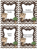 Monkey Theme or Jungle Theme Organizational Binder Dividers, Tabs, Info Sheets