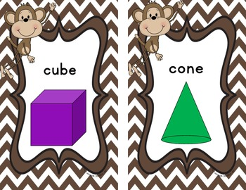 Monkey Theme or Jungle Theme Shape Charts (2 & 3 D) common