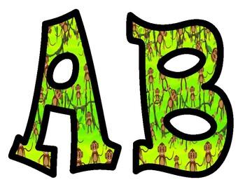 Monkey Themed Alphabet Bulletin Board Letters
