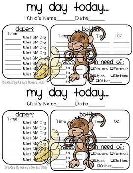 Monkey Themed Childcare Daily Reports  (Daycare)
