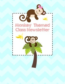 Monkey Themed Class Newsletter and Homework Sheet