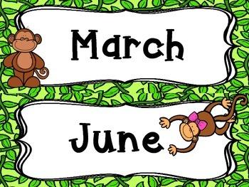 Monkey Themed Classroom Calendar Month Labels