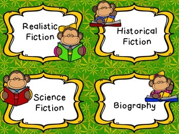 Monkey Themed Classroom Library Genre Labels