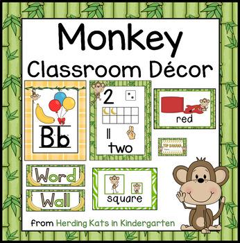Monkey Themed Classroom Poster Decor Bundle