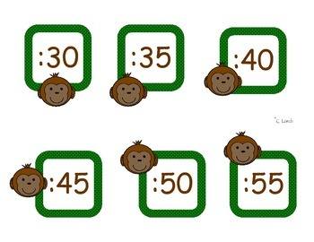 Monkey Themed Clock Time Labels