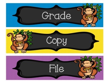 Monkey Themed Drawer Labels or Objective Headers