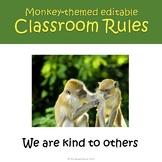 Monkey Themed Editable Classroom Rules