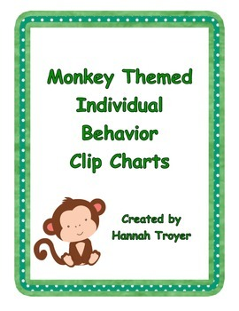 Monkey Themed Individual Behavior Clip Charts