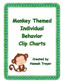 Monkey Themed Individual Behavior Clip Charts