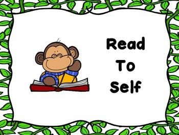 Monkey Themed Literacy Center Signs