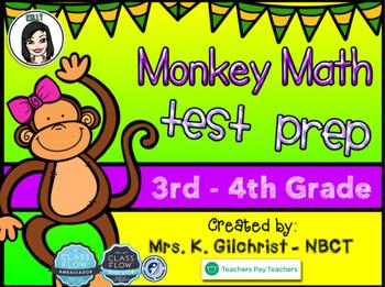 Monkey Themed Math Test Prep Practice for Promethean ActivInspire