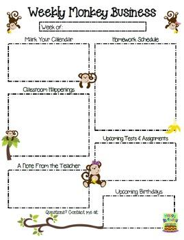 Monkey Themed Newsletter and Homework Set