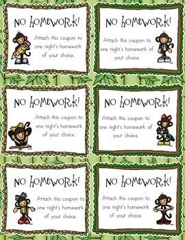 Monkey Themed No Homework Coupons