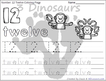 Monkey Themed Number Color and Trace