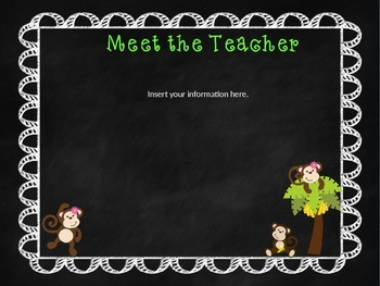 Monkey Themed Open House/Meet the Teacher PowerPoint Template (Editable)
