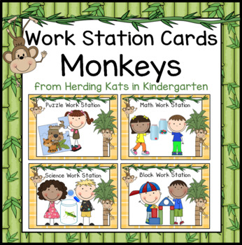 Monkey Themed Pocket Chart Work Station Cards