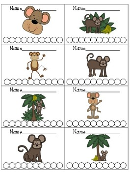 Monkey Themed Punch Cards