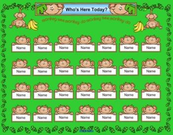 Monkey Themed SmartBoard Attendance/Check-In
