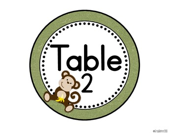 Monkey Themed Table Signs (1-10)