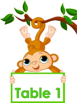 Monkey Themed Table/Group Numbers