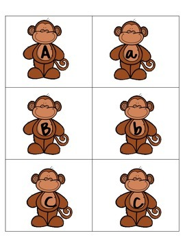 Monkey Themed Uppercase and Lowercase Letters